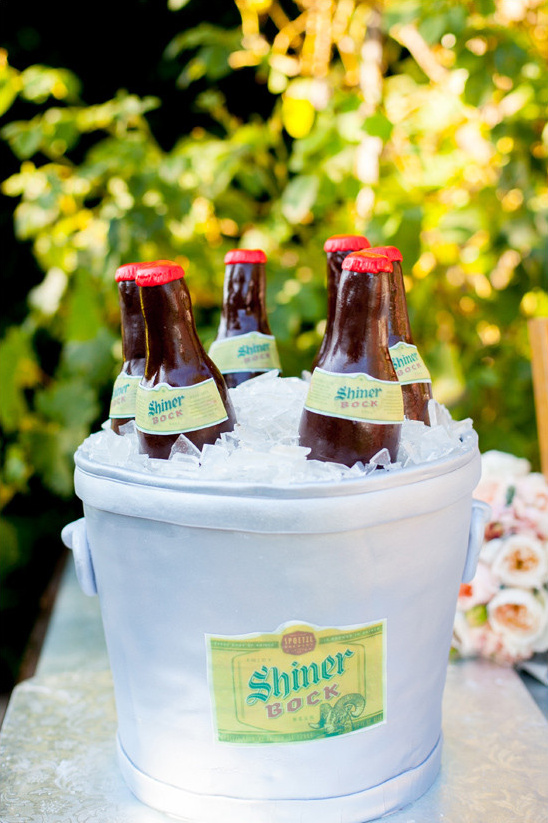 beer bucket grooms cake @weddingchicks