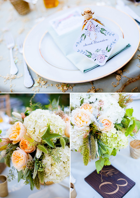 gold and peach table decor @weddingchicks