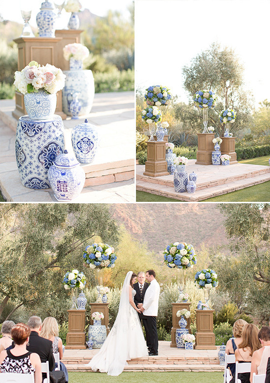 white and blue wedding ceremony @weddingchicks