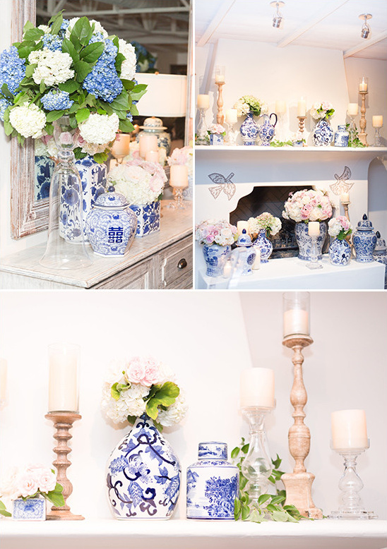 blue white and gold decor @weddingchicks