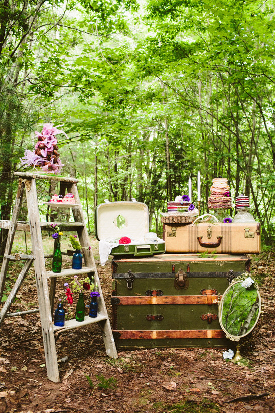 suitcase dessert table @weddingchicks