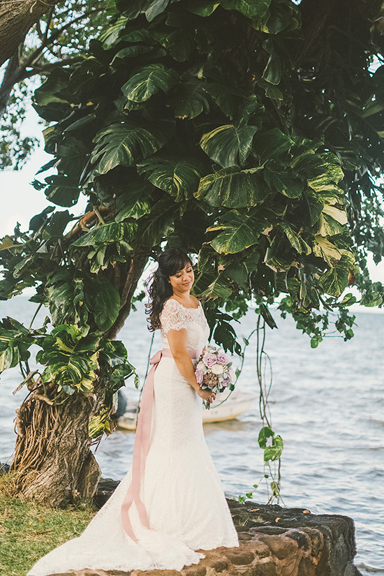 Blog purple and lace hawaiian wedding for Honolulu wedding dress rental