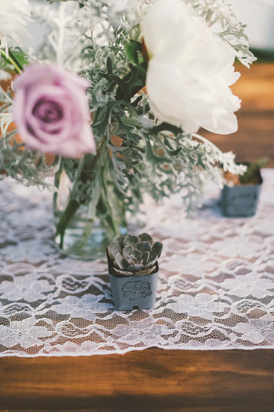 lace and succulent centerpiece @weddingchicks