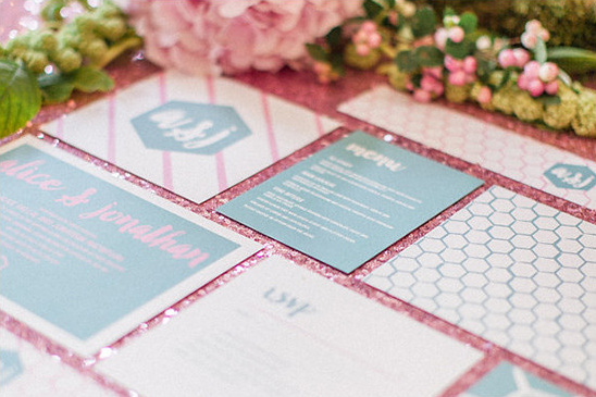 blue and pink wedding invitation @weddingchicks