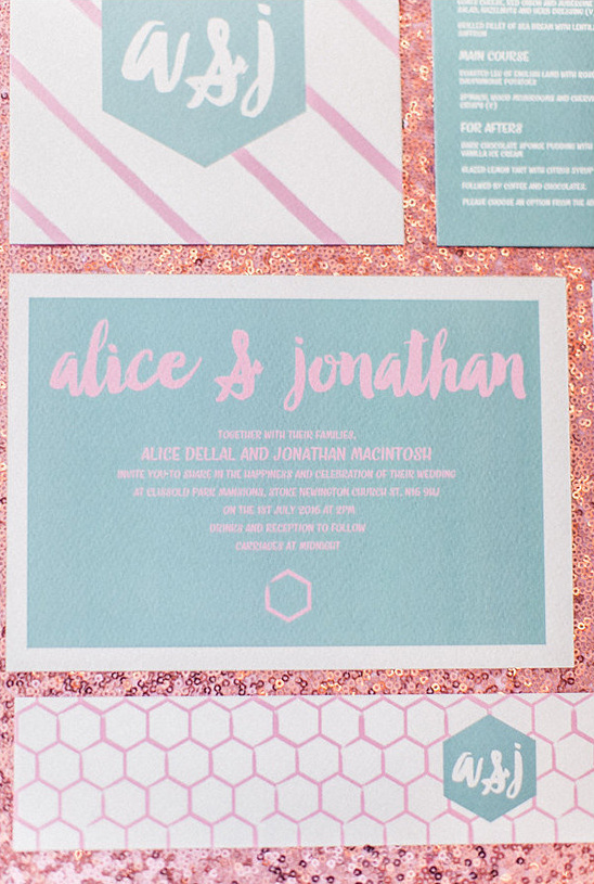 pink and blue invitaion @weddingchicks