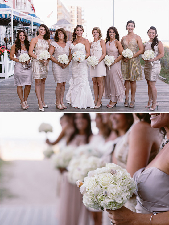 mismatched gold bridesmaid dresses @weddingchicks