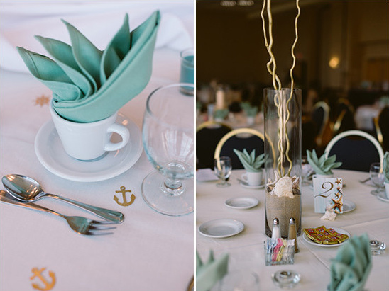 beach themed table decor @weddingchicks