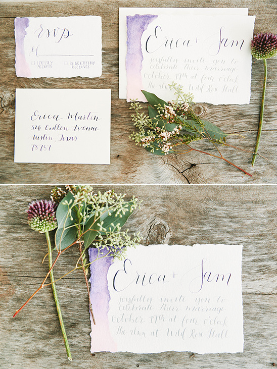 purple watercolor wedding invites @weddingchicks