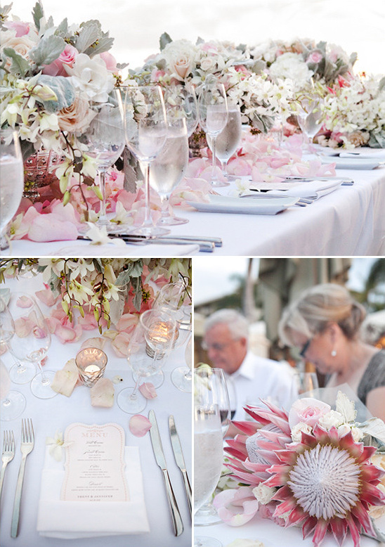 pink and white table decor @weddingchicks
