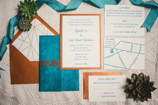 copper and blue wedding stationery @weddingchicks
