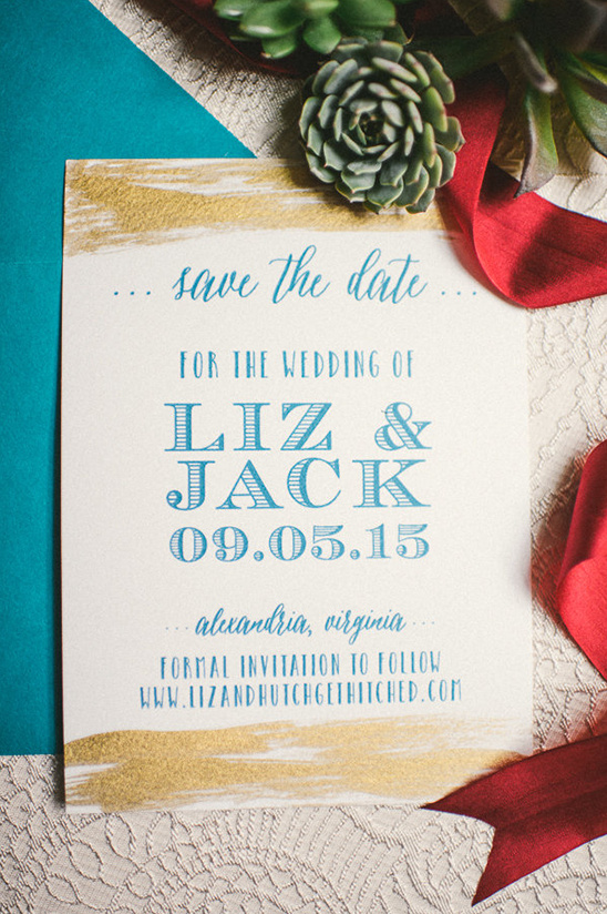 gold brushed blue wedding stationery @weddingchicks