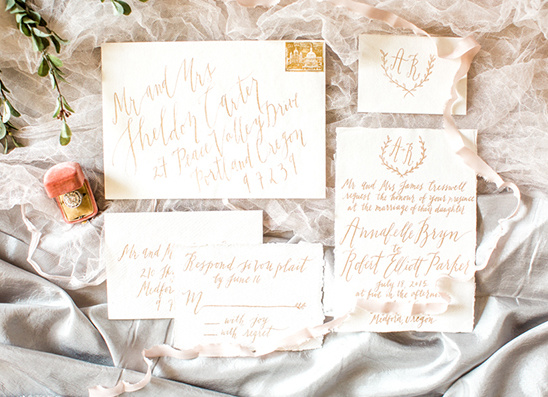 gold script wedding invitations @weddingchicks