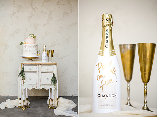 cake and champagne table @weddingchicks