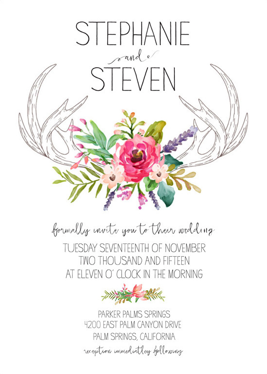 antler invitation free printable @weddingchicks