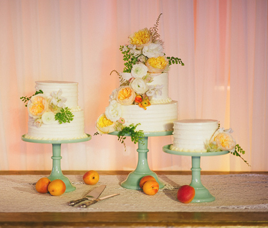 three wedding cakes @weddingchicks