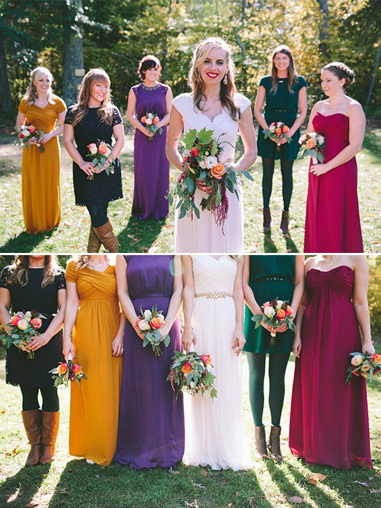 assorted fall bridesmaids @weddingchicks