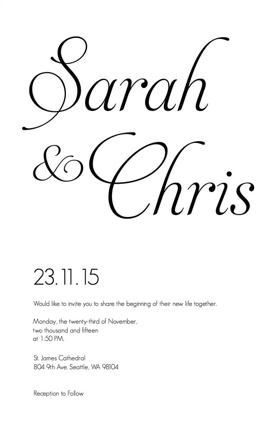 fancy font invitation @weddingchicks