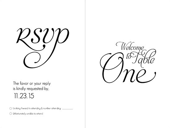 wedding rsvp and table number fancy font @weddingchicks