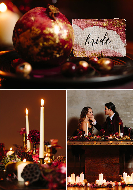 gold and red table decor @weddingchicks