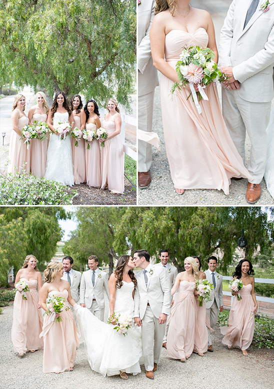 peach and grey wedding party @weddingchicks