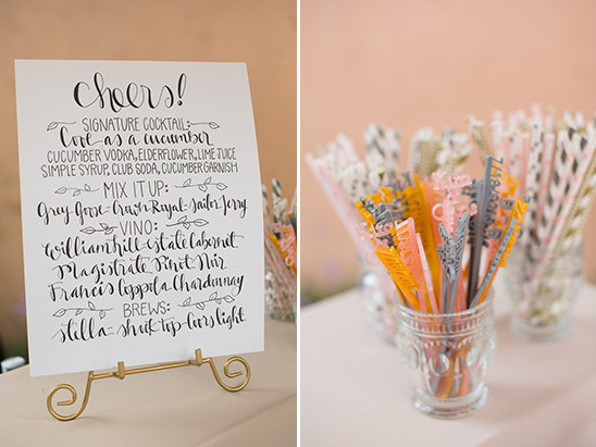 drinks and custom stir sticks @weddingchicks