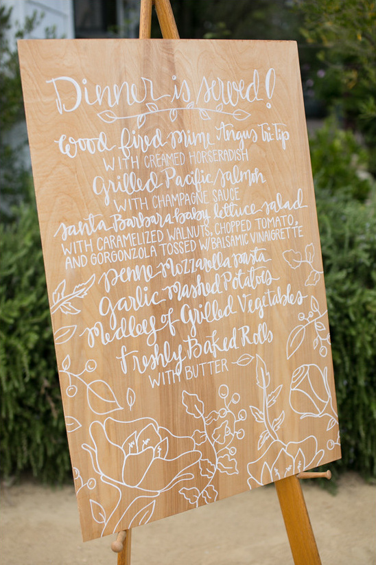 dinner menu @weddingchicks