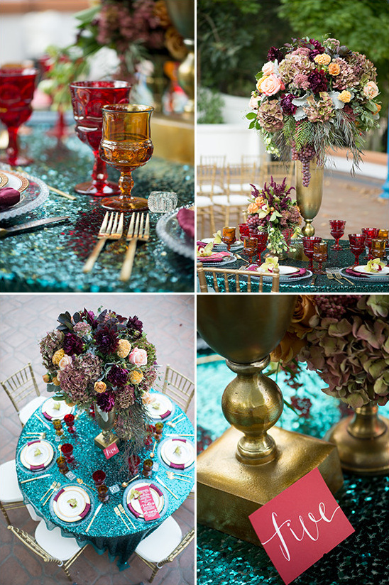 blue and gold wedding table decor @weddingchicks