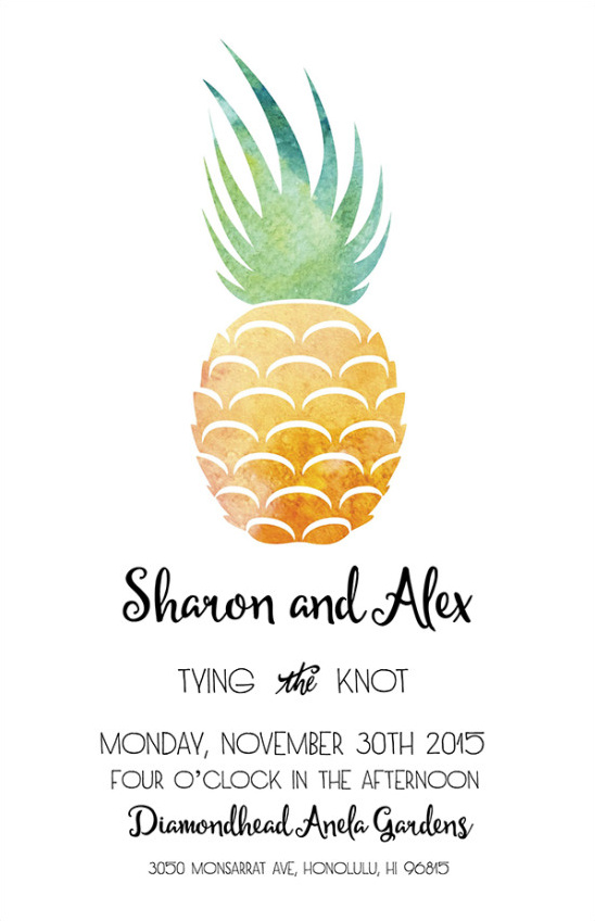 Invitation pineapple @weddingchicks