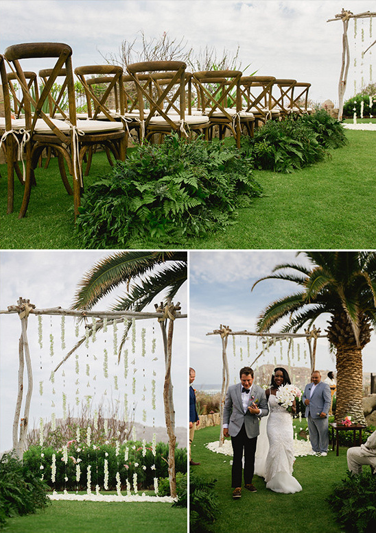 green and white wedding ceremony @weddingchicks