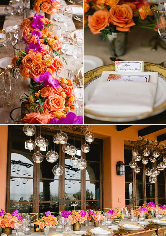 orange and gold table decor @weddingchicks
