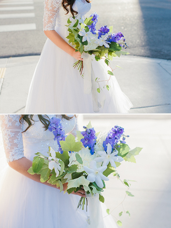 Simple Blue and White Bouquet Recipe @weddingchicks