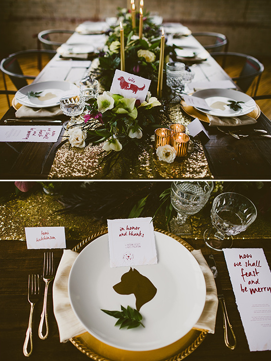 dog themed table settings @weddingchicks