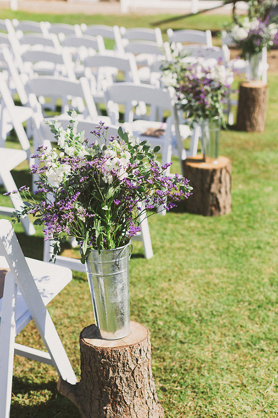 Rustic purple and white outdoor wedding for Diy wedding ceremony decoration ideas