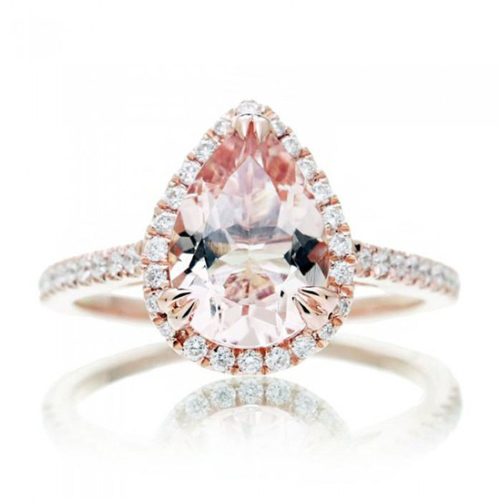 rose gold and morganite halo engagement @weddingchicks