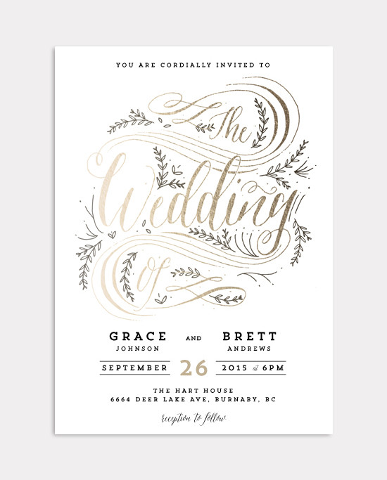 gold foil wedding invite @weddingchicks