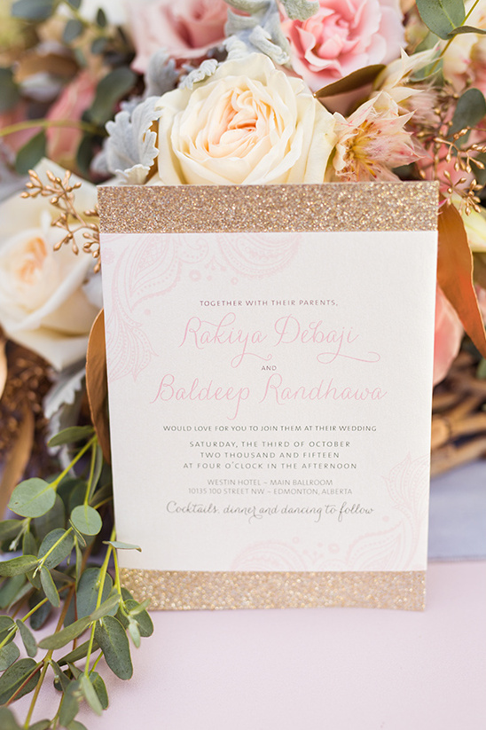 gold and pink wedding invites @weddingchicks