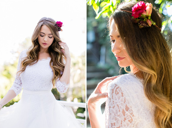 lace wedding dress and floral crown @weddingchicks