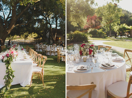 pink and white outdoor reception @weddingchicks