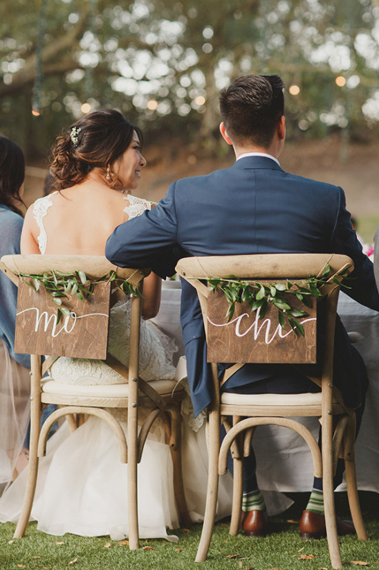 cute name chair signs @weddingchicks