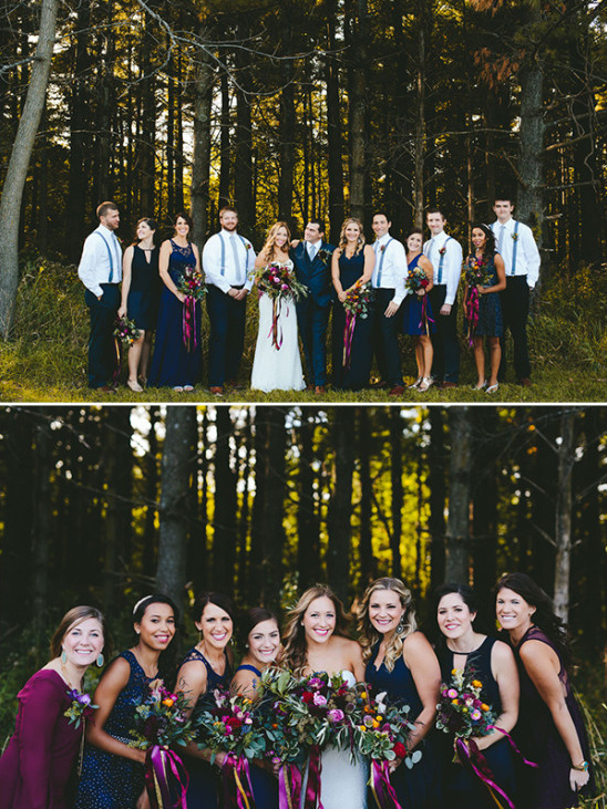 purple and blue wedding party attire @weddingchicks