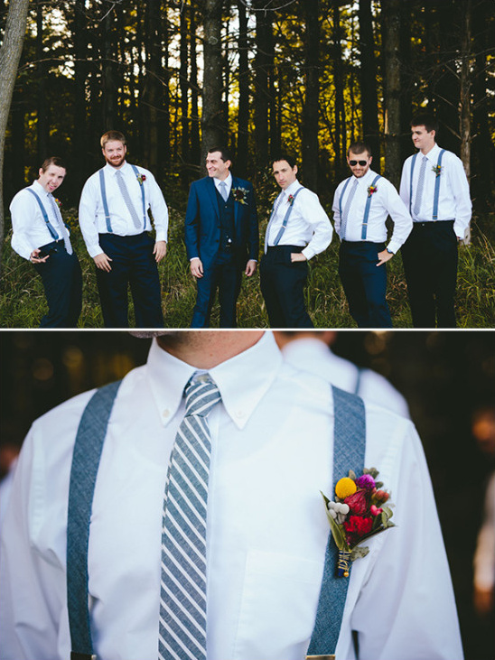 blue groomsmen with suspenders @weddingchicks