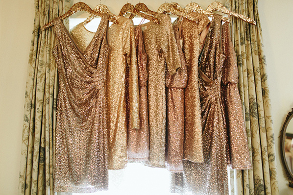 gold bridesmaid dresses @weddingchicks