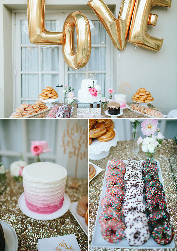 gold and pink dessert table @weddingchicks