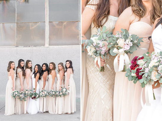 champagne bridesmaids dresses @weddingchicks