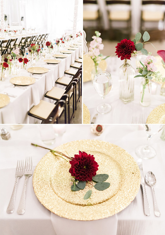 gold white and red table decor @weddingchicks