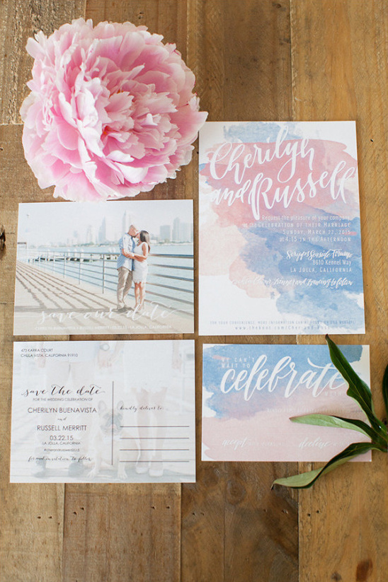 pink and blue watercolor invites @weddingchicks
