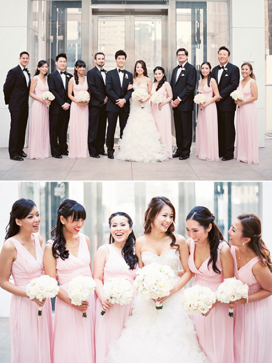 pink and black wedding party @weddingchicks