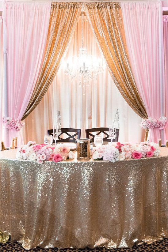 gold and pink sweetheart table @weddingchicks