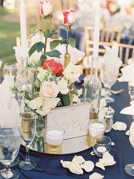 Chic Navy Gold And Peach Wedding