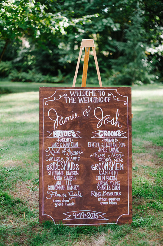 wooden wedding program sign @weddingchicks